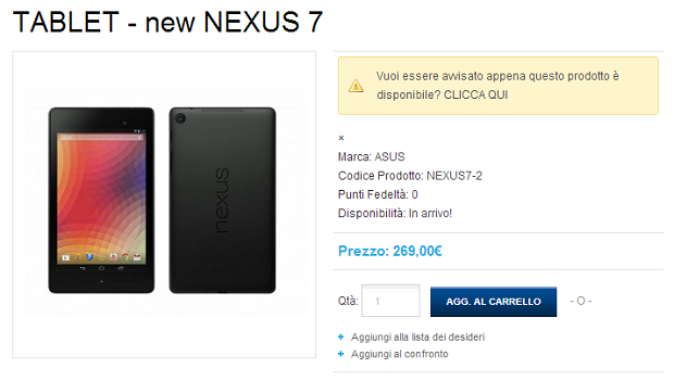 Nuovo Nexus 7 AsusStore
