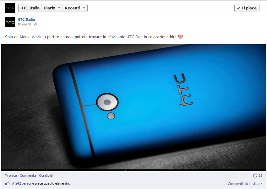 HTC One Vivid Blue facebook