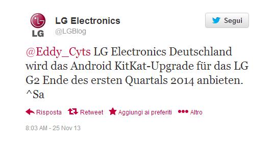 LG update Twitter