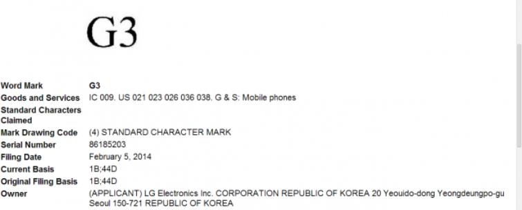 LG G3 trademarks