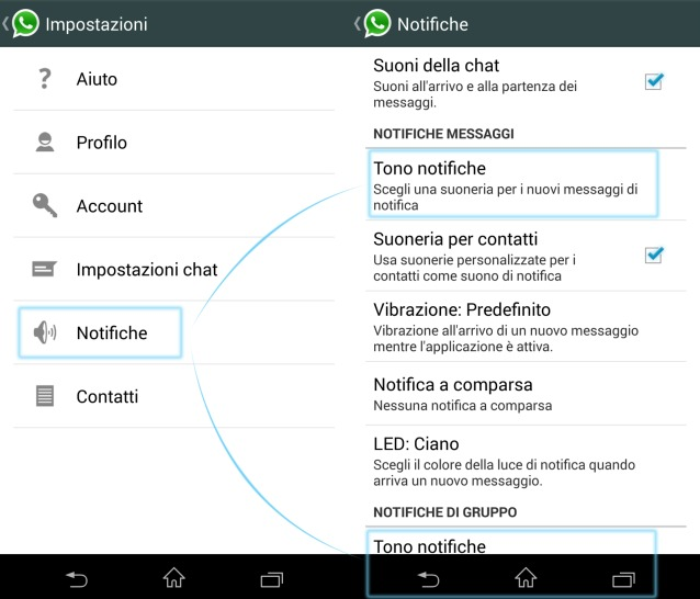 Come personalizzare la suoneria di notifica di WhatsApp su Android