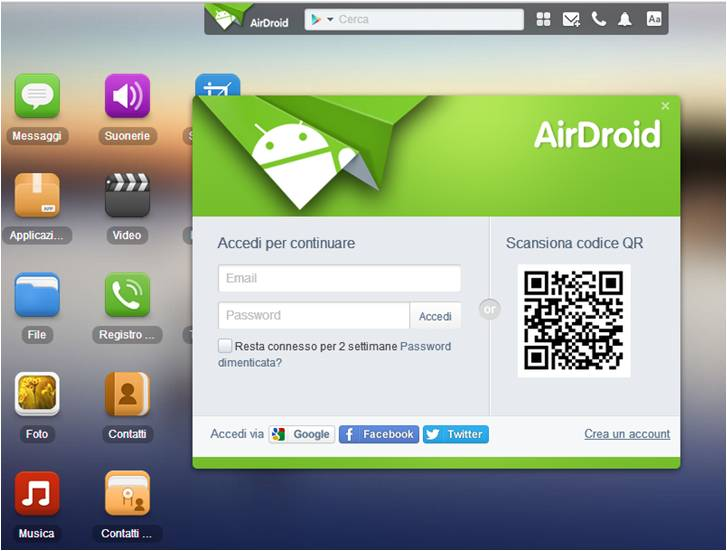 Sincronizzare contatti Android su pc Windows AirDroid
