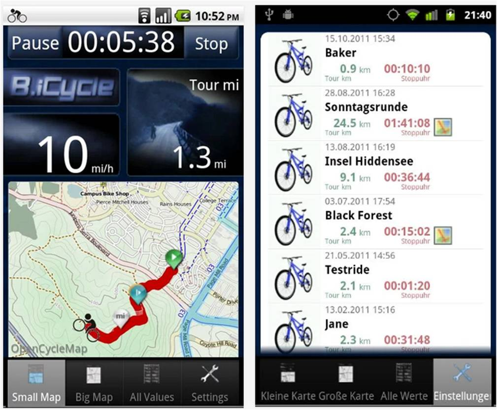 B.iCycle applicazioni Android per bici