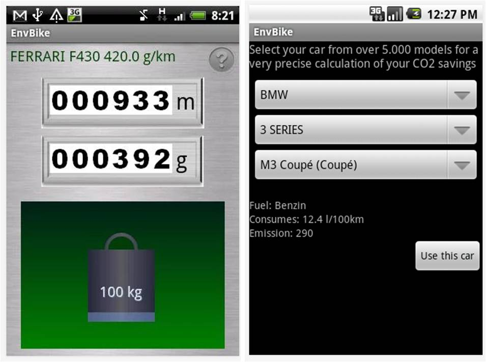 Env Bike - Track CO2 Savings applicazioni Android per bici