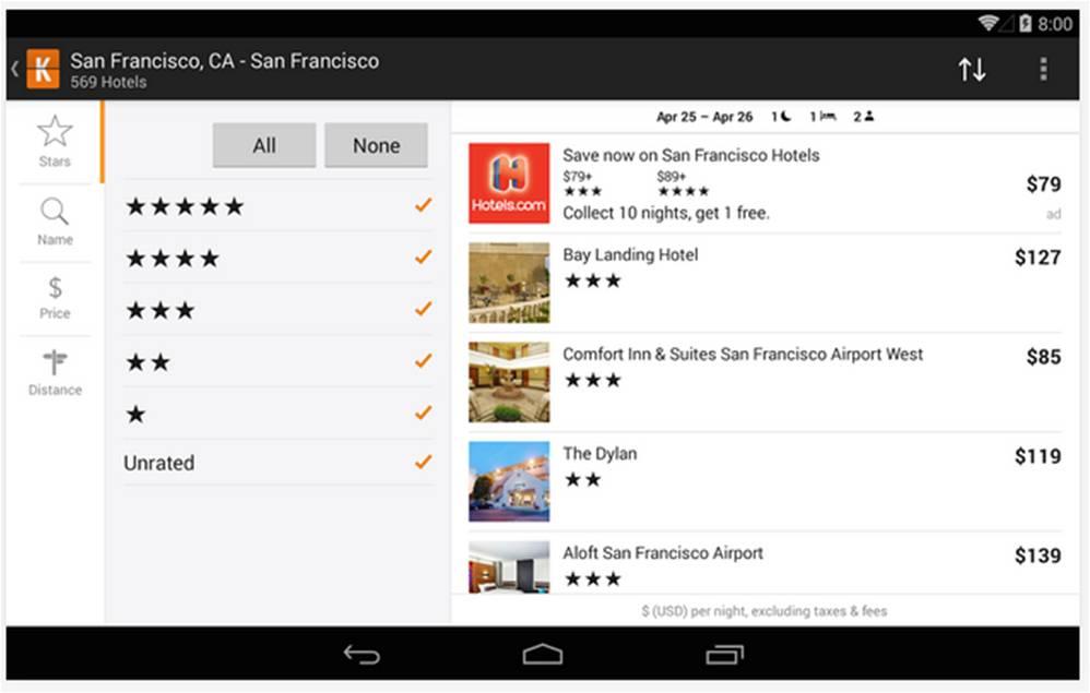Kayak migliori applicazioni Android per viaggiare