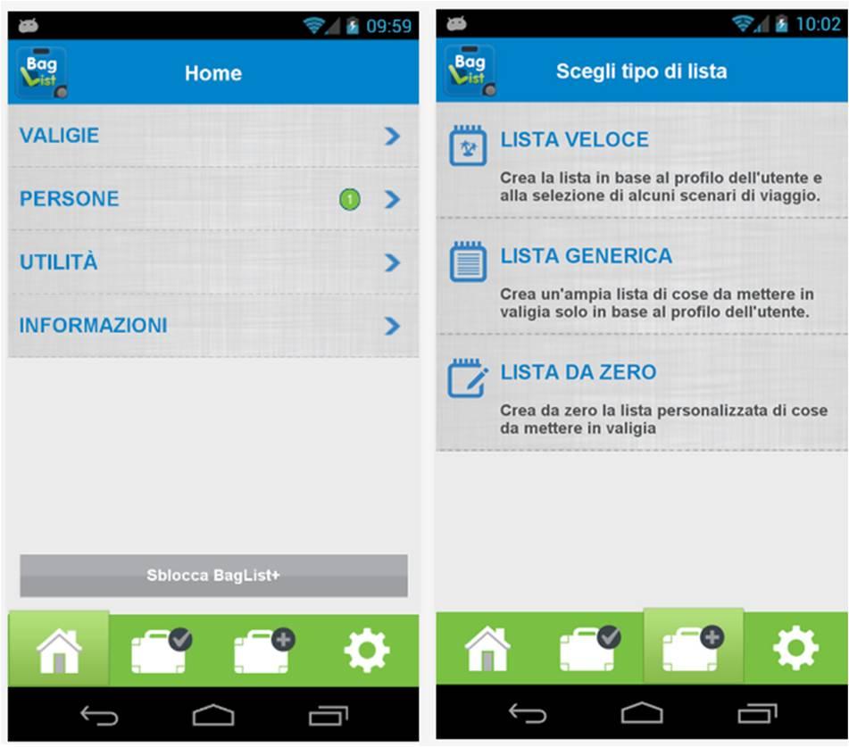 BagList applicazioni Android vacanze