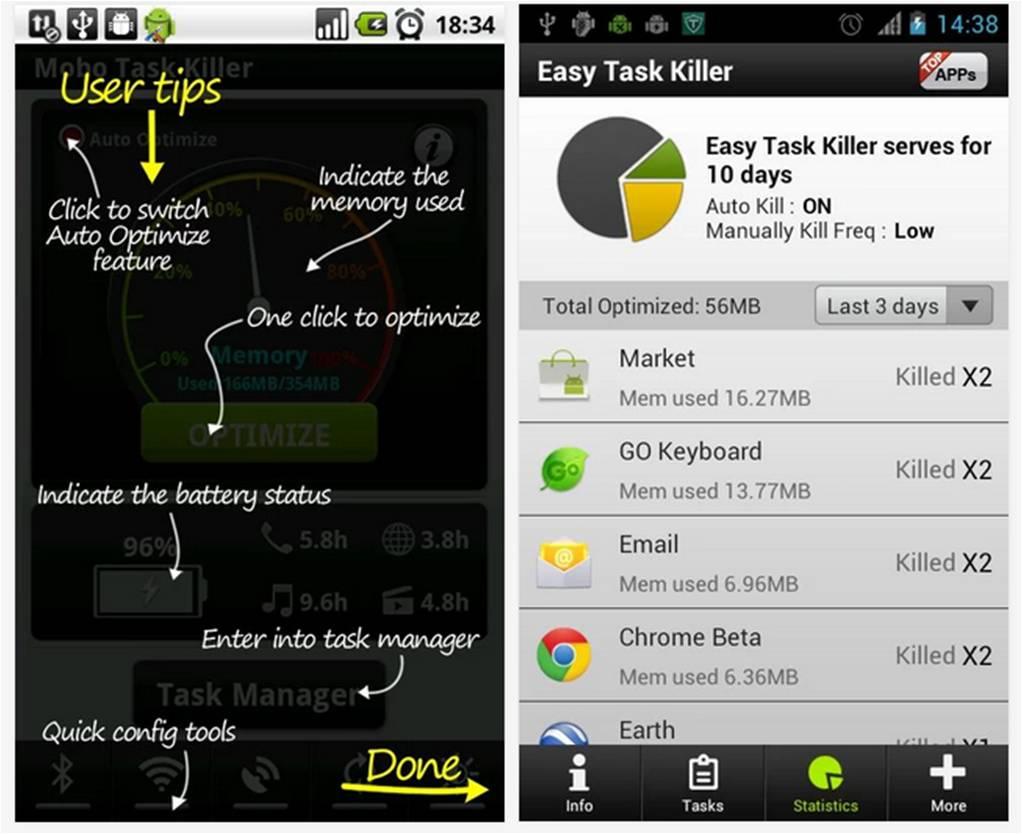 Easy Task Killer Advanced come liberare memoria Android