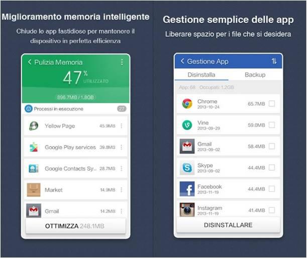 Clean Master Phoone Boost come espandere memoria Android