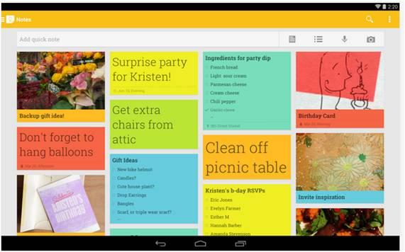 Google Keep migliori applicazioni Android per la scuola