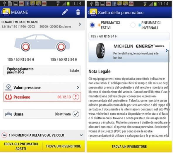 Michelin MyCar Applicazioni Android per la gestione dei pneumatici