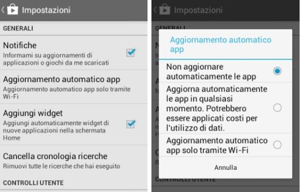 disabilitare gli aggiornamenti automatici su Android