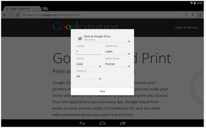 Cloud Print stampare da Android