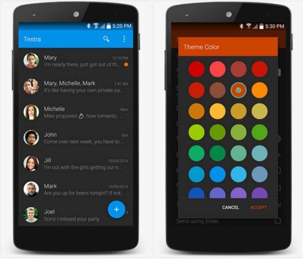 Textra SMS migliorare applicazioni Native Android