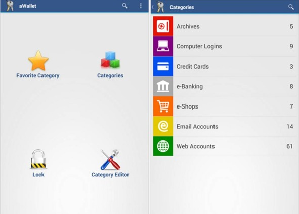 Come memorizzare password su Android con aWallet Password Manager