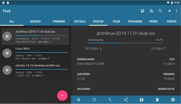 Flud app di client Torrent per Android