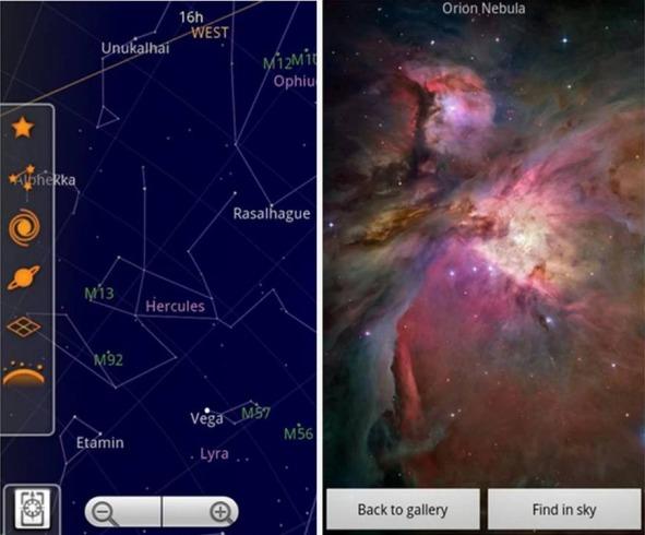 Sky Map applicazioni di astronomia su Android