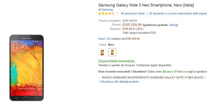 migliori offerte amazon galaxy note 3 neo
