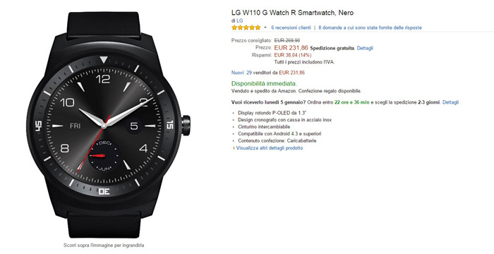 lg g watch r - amazon