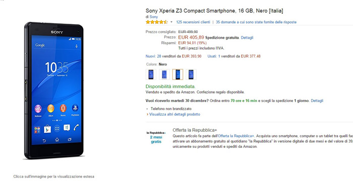 sony xperia z3 compact - amazon