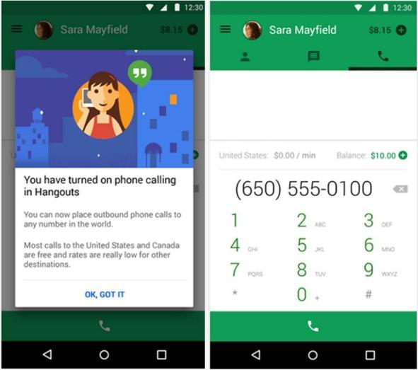 Hangouts Dialer applicazioni Android per risparmiare tempo e denaro