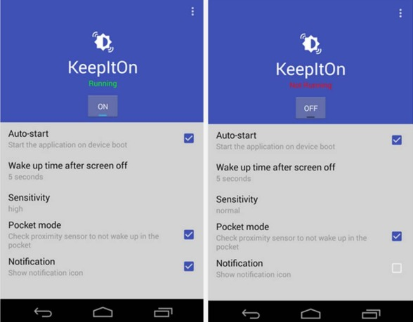 KeepItNow tenere schermo acceso Android