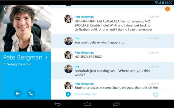 Skype su Android chat