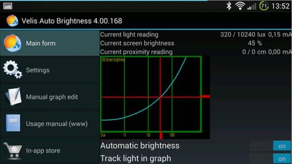 Velis Auto Brightness app per regolare luminosità Android