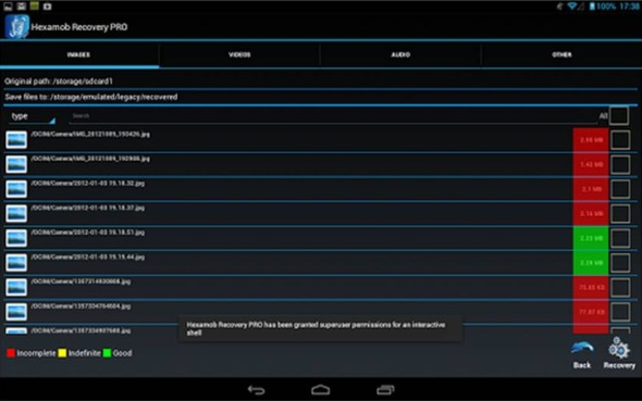 Come recuperare file cancellati da Android Hexamob Recovery Lite