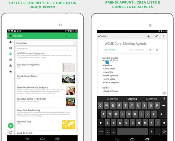 Evernote applicazioni produttività Android