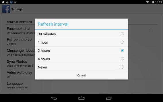 Intervallo di Aggiornamento Facebook su Android