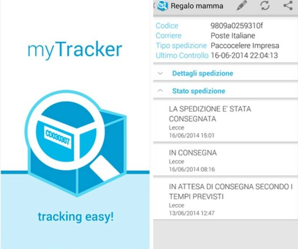 MyTracker Lite tracking spedizioni Android
