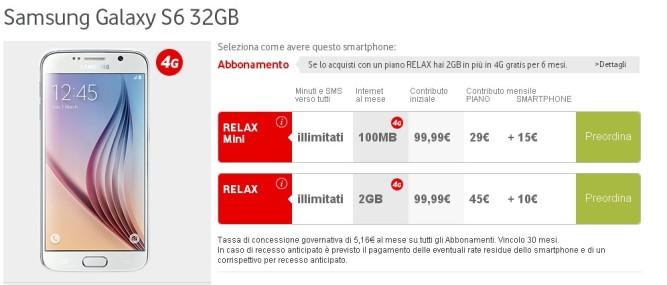 Vodafone Galaxy S6 abbonamento