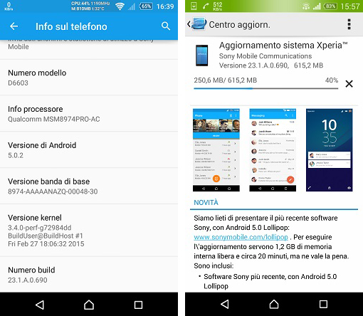 android 5.0.2 lollipop - xperia z3