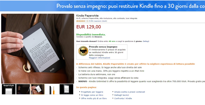 kindle paperwhite - migliori offerte amazon -30032015