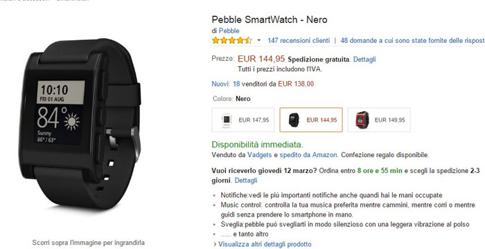 pebble smartwatch -amazon-09032015