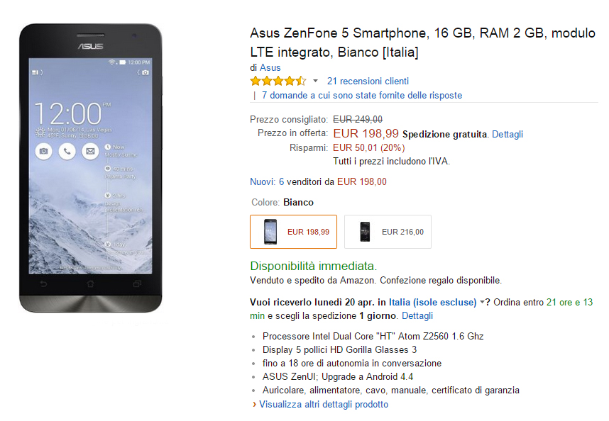 Asus ZenFone 5 offerta