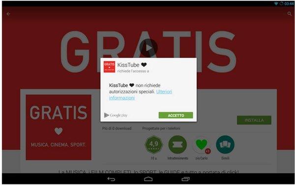 KissTube applicazioni Android gratuite per tablet