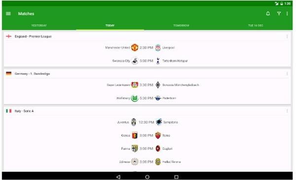 Risultati Calcio applicazioni Android gratuite per tablet