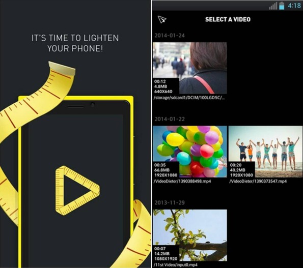 come comprimere video su Android Video Dieter 2