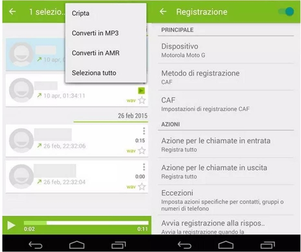 come registrare chiamate su Android con CallRecorder