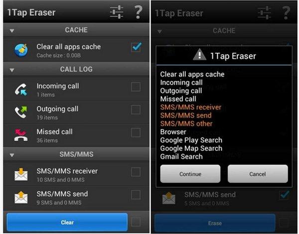 1Tap Eraser app Android prestazioni telefono