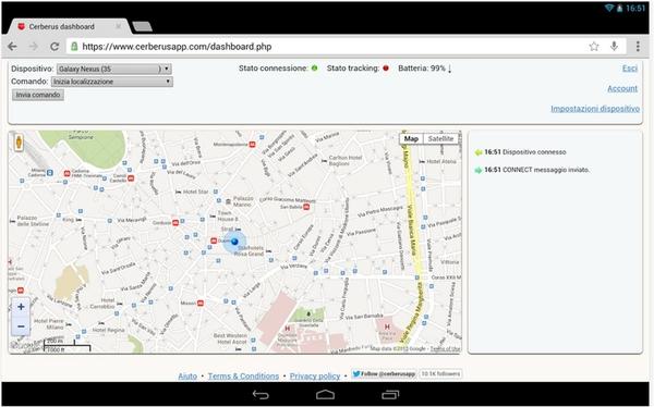 Cerberus antifurto come rintracciare smartphone Android