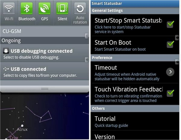 Come nascondere barra notifiche Android Smart Statusbar