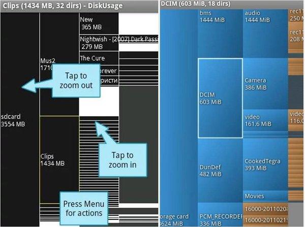DiskUsage app Android prestazioni telefono