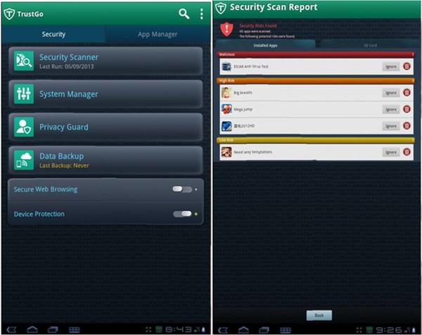 TrustGo app Android prestazioni telefono