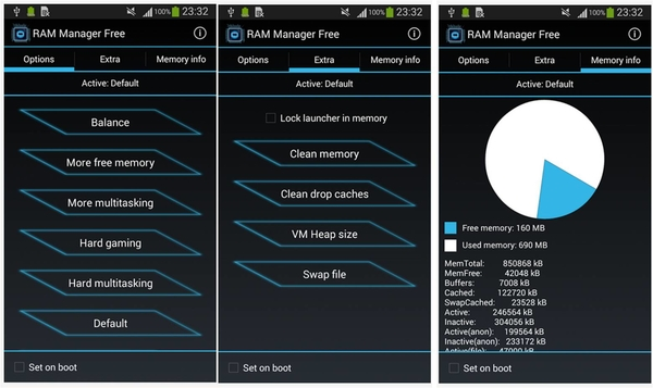 come aumentare la RAM Android root con RAM Manager Free