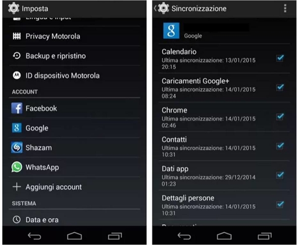 come sincronizzare rubrica Android con Gmail