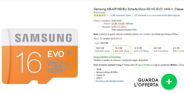 microsd-16GB-samsung-evo-offerte-elettronica-maggio2015