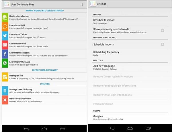 vocabolario Android come aggiungere parole User Dictionary Plus