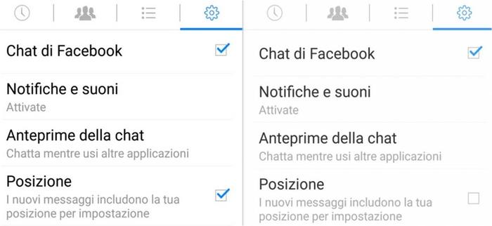 come disabilitare geocalizzazione Facebook Messenger su Android